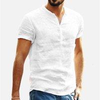 Ropa para hombres Camisetas para hombre Tapas de algodón de lino de algodón de color sólido de manga corta Tops retro Blusa Cuello en V