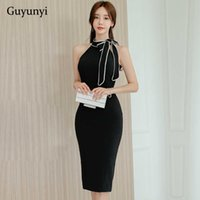 Schwarzes elegantes Bürokleid Sommer Einfache Ständer Krawatte Eine Bogen Sleeveless Hohe Taille Temperament Party Frauen 210608