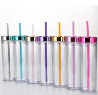16 oz dünn tasse doppelwand kunststoff dünne tumbler tragbar einfach zu nehmen mit deckel und stroh meer versand wwa227