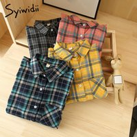 Yitimoky клетчатая блузка женщины плюс размер корейской моды одежда винтажные топы рубашки с длинным рукавом шерстяные осень зима голубой розовый 210225
