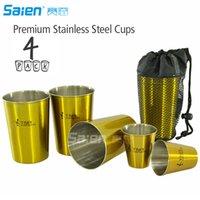 قسط الفولاذ المقاوم للصدأ أكواب 11 أوقية باينت كأس تلوانية (4 حزمة) من الذهب - أكواب معدنية بريميوم - كأس دائم
