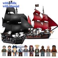 Черный жемчужный корабль, совместимый с пиратами Ships 4184 4195 Caribbean Model Block Blocks с фигурами день рождения подарки игрушек