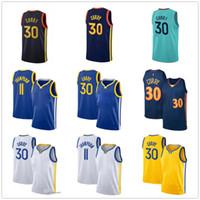 Goldenstate Stephen 30 كاري 11 طومسون كرة السلة جيرسي الرجال أعلى أزرق أبيض أسود كرة السلة الفانيلة 2020 أعلى