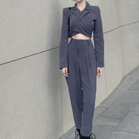 Women's Two Piece Pants ZOVSV 2021 Sexy Blazer Suit Long Sleeve Backless Cropped And High Waist Set Gray Blazers Suits