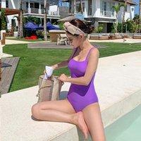 Mayo Kadınlar 2021 Monokini Push Up Swim Suit Tek Parça Kore Ins Sıcak Yüzme Yüksek Bel Bikini Katı Pamuk FMZXG Yeni Mayo