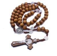 펜던트 목걸이 카톨릭 묵주 목걸이 수제 나무 십자가 종교 보석