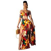 Baskılı Yaz Plaj Maxi Elbise Straplez Kapalı Omuz Seksi Yüksek Yarık Sundress Bayan Robe Uzun Elbiseler Oymak