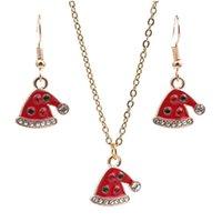 Earrings & Necklace ZHINI Luxury Crystal Christmas Hat Drop For Women Simple Punk Gold Chain Choker Wedding Fashion Jewelry Set