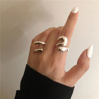 Hearts Chrome Korean Exaggerated Geometric Ring Female 925 Silver Ins Style Personality Hip Hop Punk Open Food