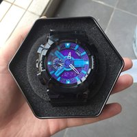 남성 군사 스포츠 시계 아날로그 디지털 LED G110 충격 저항 손목 시계 남자 전자 실리콘 시계 선물 상자 몬트르 드 Luxe