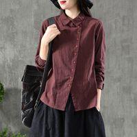FJE New Spring Women Camiseta Plus Size Longa Manga Casual Ladies Tops Algodão Manta Defesa Coleira Vintage Blusa Camisas D7 210223
