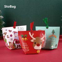 Stobag 20 adet Merry Christmas Mutlu Yıl Kağıt Kutusu Bebek Duş Parti Şeker Kek Paketi Hediye Dekorasyon Malzemeleri Şerit 210602 ile