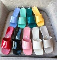 Женские сандалии высокие каблуки GG резиновые скольжения сандал платформы алфавит тапочки коренастые 2,4 каблука высота обувь летние тапочки тиснение флип флопса7qgo #
