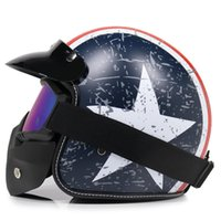 Motorradhelme Leder Retro Helm 4/3 Gesichtsmaske Goggles Alte Off-Road Capacete S-XL Größe