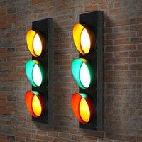 벽 램프 산업 스타일 복고풍 크리 에이 티브 바 레스토랑 신호등 철 유리 LED 신호 내부