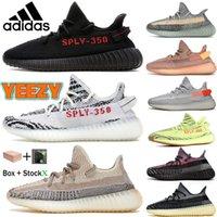 Yeezy 350 V2 Boost Kanye Batı Erkekler Koşu Ayakkabıları Kül Inci Mavi Taş Bred Zebra Küliş Siyah Statik Yansıtıcı Kadın Sneakers Krem Beyaz Kuyruk Işık Eğitmenleri