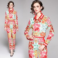 2021 Retro Floral Pants Party Sets Runway Women Printed Button Shirt + Trousers Resort Streetside Luxury Designer Set Slim Office Two Piece Spring Autumn Fashion Suit