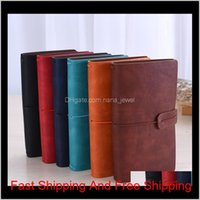 Solid Color Leather Notebook Handmade Vintage Diary Journal Books Retro Travel Notepad Sketchbook Office School Supplies Gift Dbc Bijx E169J