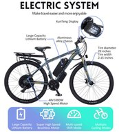 electric bicycle rear hub brushless motor 48V 1000W 17.5Ah+13.4Ah Lithium battery 29 inch wheel 21-speed ebike snow beach LCD display LED Gift kits