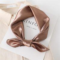 Scarves 2021 Fashion Silk Square Scarf For Women Satin Neck Hair Tie Band Bag Warp Soft Neckerchief Hijabs Head Female Foulard 60cm
