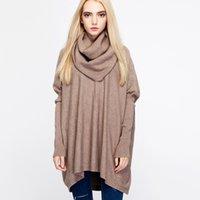 2021 Neue Turtlneck Gestrickte Frauen Poncho Bat Sleeve Herbst Winter Weibliche Pullover Pullover Seite Split Capes Cloak Fi7h