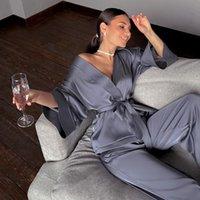 Женские спящие одежды HiLoc Home Suit для женщин Свободные пролетные брюки Три четверть Рукава Сатин Устанавливает Халат Носить Мода 2021