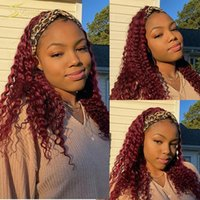 Lace Wigs Colored 99J Burgundy Human Hair Wig Natural Glueless Red Headband Full Machine Made For Black Women Scarf 360 Frontal