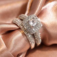 Wedding Rings Luxury Female White Square Crystal Ring Charm Silver Color Engagement For Women Vintage Bridal Zircon Set