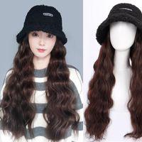 Широкие Breim Hats Bucket Hat парик для женщин синтетическая длинная волнистая вьющиеся зима широкоподражаясь все в одном с