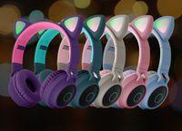귀여운 고양이 귀 헤드폰 무선 블루투스 5.0 머리띠 이어폰 게임 다채로운 LED 빛 헤드셋 아름다움 Hifi 음악 헤드폰 그릴 아이 선물 DHL