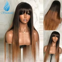 Lace Wigs Shumeida Ombre Blonde Color Full Machine Brazilian Remy Human Hair Long Straight With Bangs For Black Women