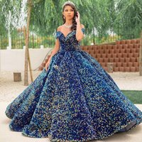 Colorful Quinceanera Dresses Ball Gown Sexy Sparkly Sequined Off Shoulder Sequins Formal Party Prom Evening Gowns