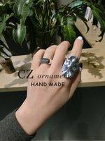 Band Rings Sier Sterling Korea Super 925 Wide Index Finger Water Ripple Fold Minority Designer Cross Simple Ring