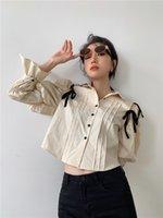 2021 Новый суд с длинным рукавом Урожай женской блузки Пустотенайте кнопку out up Дизайнерская рубашка падение одежды мода 8ORI