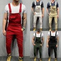 Fashion Men Tuta Pantaloni per bretelle Slim Fit Bib Pants Skinny Jeans Causal