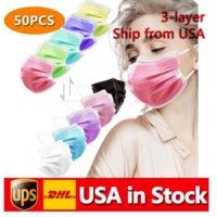 Fast entrega descartável Máscaras Multicolored Face Máscara de Caixa de Pele Macias Para Mulheres e Homens 3 Camada Adulto Adulto Máscaras Adultas