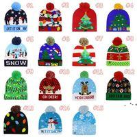 15 style Led Christmas Knitted Hats 23*21cm Kids Mom Winter Warm Beanies Deer Santa Claus Crochet Caps ZZE8638