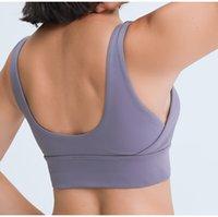 Yoga esportes sutiã fitness desgaste acolchoado camiseta camisa l-86 irregular desenhado à prova de choque de choque no caverna mulheres sólida cor ginásio underwear Ropa interior corpo shapewear