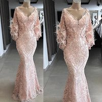 Casual Dresses Dubai Evening Gowns Feathers Long Sleeves Abiye Saudi Arabic Pageant Prom Party Gown Custom Made Vestido Longo