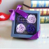 Подарочная коробка ароматная розовое мыло цветок романтическое ванна мыло для тела мыло роза с позолоченной корзиной для валентина свадьба рождественский подарок EWC6406