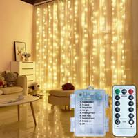 LED-Vorhang-String-Leuchten Fernbedienung USB / Batterie-Fairy-Licht Weihnachtsgirlande Hochzeitsfeier für Hausschlaf-Fenster-Dekor