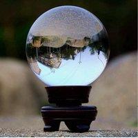 شفافة كريستال الكرة الشفاء الطبيعي حجر 60 ملليمتر الأزياء الحلي الفن امرأة رجل مكتب العمل حظ بلورات كرات هدية ahf5238
