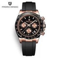Pagani Design Top Marques Black Hommes Montres Quartz Montres de Luxe Hommes Sport Chronographe 100m Imperméable Montre-Bracelet PD-1664