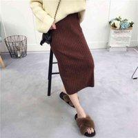 Autumn 2018 new women's half skirt Korean version pit strip versatile wrap chic lower garment back slit Knit Skirt