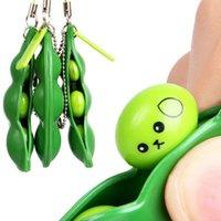 Fidget 장난감 압축 해제 Edamame Squishy Squeeze Peas 콩 키 체인 귀여운 스트레스 성인 장난감 선물