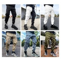 Notte riflettente da uomo Pantaloni sportivi Pantaloni laterali Tasche Laterali Cargo Harem Pant Joggers Pantaloni Moda Casual Nuovo