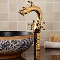 Badkamer gootsteen kranen gloednieuw schip wastafel kraan kraan china drakenmixer enkele hendel gouden koud en warm water H-1600 6o1e