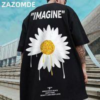 Zazomde algodón hip hop camiseta verano cuello redondo suelto camisetas flores tee shirts algodón medio manga streetwear tshirt 210304