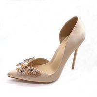 패션 샴페인 실크 새틴 여성 신발 섹시한 진주 라인 석 나비 Butto Stiletto 뒤꿈치 측면 공간 샌들 12cm 파티 하이힐