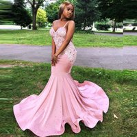Pink Satin Beaded Mermaid Evening Dresses Spaghetti Strapless Prom Formal Gowns